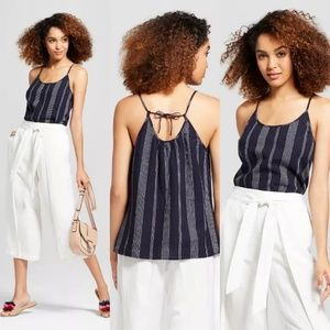 Striped Linen Mix Tie Back Tank*NWT*Sz XL*